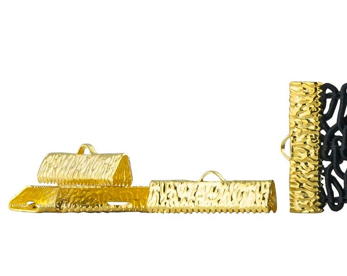 25mm or 1 inch Gold Ribbon Clamps End Crimps - with or without Loop - Artisan Series (500 pieces)
