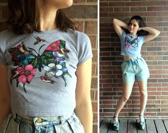 vtg 90s BUTTERFLY+HUMMINGBIRD print cropped T-SHIRT xs animal nature floral print gray cyber club kid raver tee crop top hipster indie boho