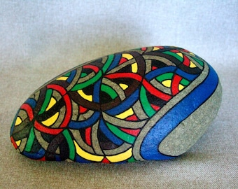 Unique Abstract Art Fierce Painted Rock 3D Art Cool Art Unique Gift Radical Rainbow Colors Office Decor Gift for Him Home Decor Office Gift