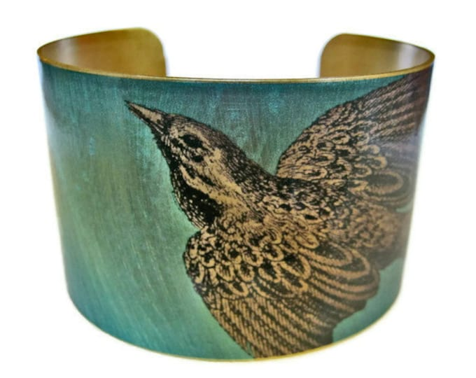 Bird Vintage style brass cuff bracelet Free Shipping to USA Gifts for her