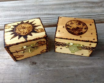 Small Woodburned Day and Night Boxes