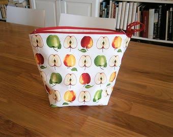Multipurpose bag, spring, printed apples, multicolor