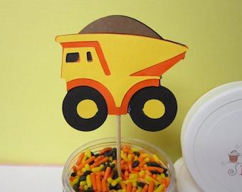 12 Yellow Orange & Black Dump Truck Hard Hat Construction Toppers / Picks