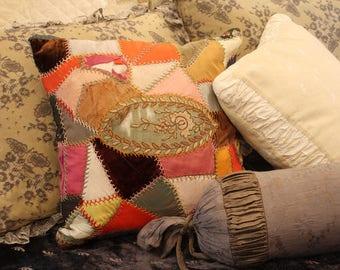 Beautiful Antique Crazy Quilt Pillow w/Handiwork
