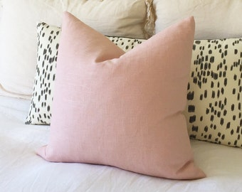 Blush Linen Pillow Cover - Blush Pillow - Rose Pillow - Pink Pillow - Light Pink Pillow - Decorative Pillow - Designer Pillow - Solid Pink
