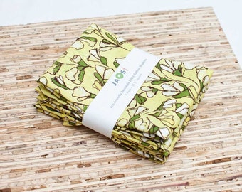 Large Cloth Napkins - Set of 4 - (N3329) - Yellow Flowers Modern Reusable Fabric Napkins