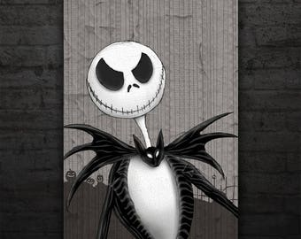 Jack Skellington Portrait - Nightmare Before Christmas - Halloween - Wall Art - Poster - Art Prints - Jack - Sally - Zero