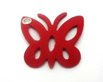 Butterfly red leather
