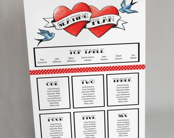 A3 Seating Plan Rockabilly Wedding Party Tattoo Rock n Roll Poster Table Chart Festival