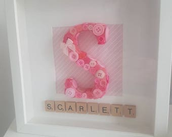 Personalised Button Initial Name Frame