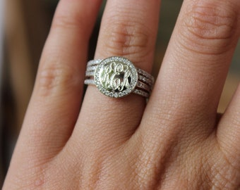 Monogrammed Stackable Ring, Sterling Silver Ring, Engraved Ring, Monogram Stackable Ring