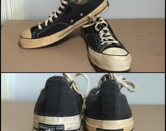 Vintage 1960's Converse Chuck Taylor, Made in USA, black canvas Sneakers Kicks Shoes size 15 Black label
