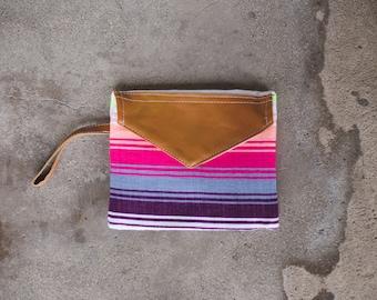 Bright Summer Stripe Natural Leather Wristlet