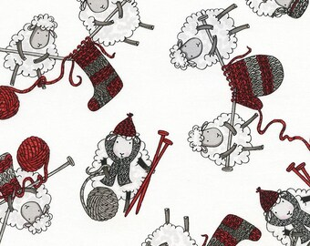Knitting Sheep - Timeless Treasures - 1 yard - More on Order - BTY