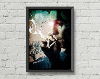 True detective,movie poster,digital print,art,poster,movie poster,Matthew McConaughey,Woody Harrelson,wall art,man cave