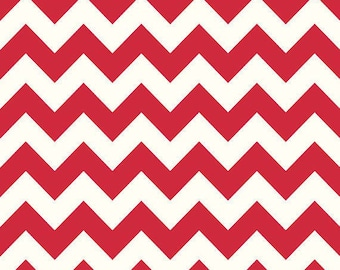 Riley Blake-Medium Chevron-RED-sold by the yard