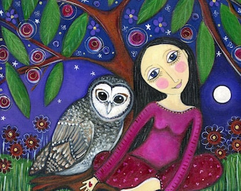 Girl and owl Art Print children's Room Decor kids wall art Nursery Art Print Whimsical Folk Art gift for friend