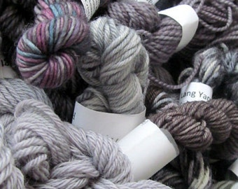 Grey Matter - Mini Skeins Fingering Sock Yarn Kit - Mini Mania (10)