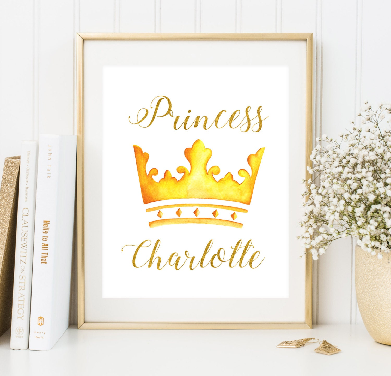 Custom baby girl name print Princess Room Decor Girl nursery