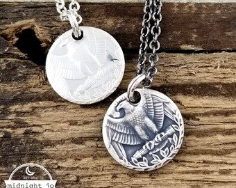 90% Silver 1992-1998 Narrow Band Coin Ring Add On Punch Out Necklace