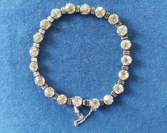 Vintage Sterling Rhinestone Bracelet, 1920s