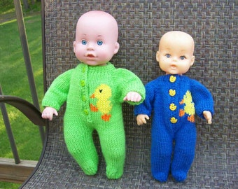 40) Footed PJ's Knit Hand Made Doll Clothes 10 and 12 Inch Baby Doll or Cabbage Patch Dolls Embroider Duck Penguin Sail Boat Bear Train etc