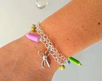 Teacher, school, bracelet charm bracelet round teacher, teacher gift, pencils, ruler, scissors, original, centerpiece