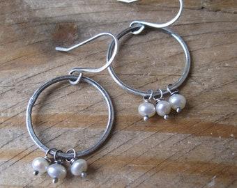 Pearl Hoop Earrings, Pearl Dangle Earrings, Rustic Pearl Earrings, Silver Circle Dangles