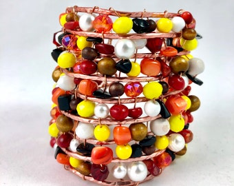 Copper Wire Beaded Cuff Bracelet w/Onyx and Red Coral gemstones