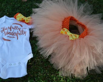 Fearfully and Faithfully Made outfit, Orange tutu and bodysuit , Birthday outfit, Baby girl bodysuit, tutu, and headband.