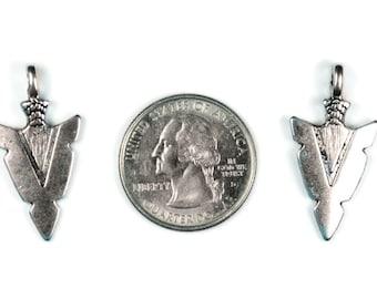 6 Antique Silver Arrowhead Charms