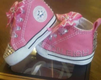 Pink Infant Bling Converse w/name
