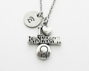 I Love Baseball Necklace, Softball Sports Jewelry, Team Gift, Mom Gift, Silver Necklace, Personalized Monogram, Hand Stamped Letter Initial