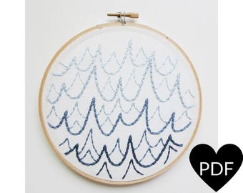 Embroidery Pattern, PDF Pattern, Ocean Waves Hand Embroidery Pattern, Instant Download PDF, Printable Stitching Pattern