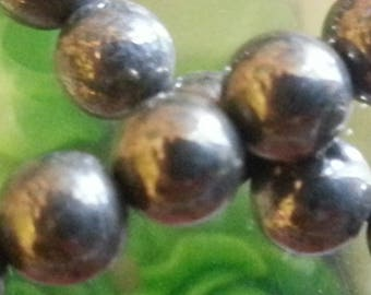 10 beads pyrite 6mm in diameter, hole 1 mm