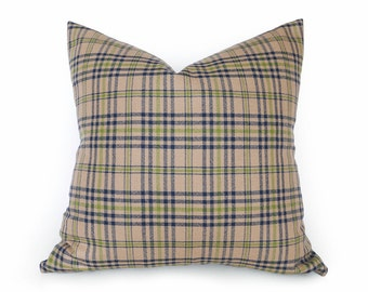 Throw Pillow Covers, Plaid Pillow, Tan Plaid Pillow, Plaid Pillow Covers, Sofa Pillows, Tan Blue Pillows, Blue Green Brown, 18x18, 20x20
