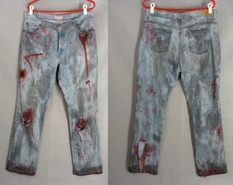 Womens 14 Long Zombie Jeans. Zombie Costume. Women's Bloody Pants. Post Apocalyptic Levi's Jeans. Zombie Vampire Hunter. Halloween Costume