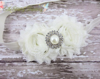 Ivory Flower Headband, Chiffon Floral Duo w/ Pearl Center Headband or Hair Clip, Baptism, Christening, Baby Toddler Child Girls Headband