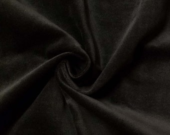 Quality Stretch Black 100% Cotton Velvet Velour Fabric for Upholstery Heavy Weight Thick Curtain Drapery Material Sold Per Yard 54 inch Wide