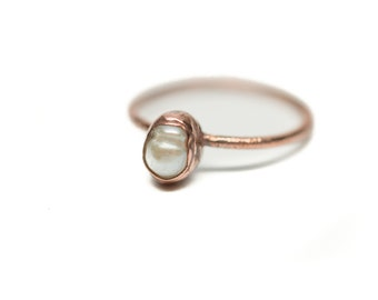 PEARL Stacking Ring // Midi Ring // Pearl Ring // Electroformed Ring // Dainty Ring // Pearl // Electroformed Pearl Ring // Copper Ring