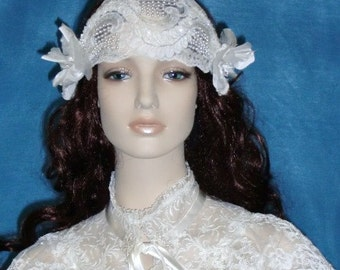 Bridal Headband, Headpiece, Wedding Veil, Fascinator, Flapper Head Piece with Beaded Lace and Silk Flowers