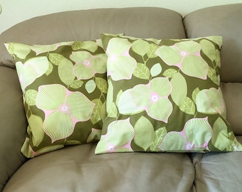 """Decorative Throw Pillow Covers, Amy Butler Midwest Modern Floral Fabric, 18"""" covers, Olive Green and Pink Pillows, B2"""