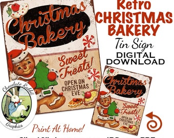 Christmas Bakery Sign Vintage Gingerbread Tin Digital Download Printable Retro Clip Art Scrapbook Fabric Transfer Graphics Card Image Sheet