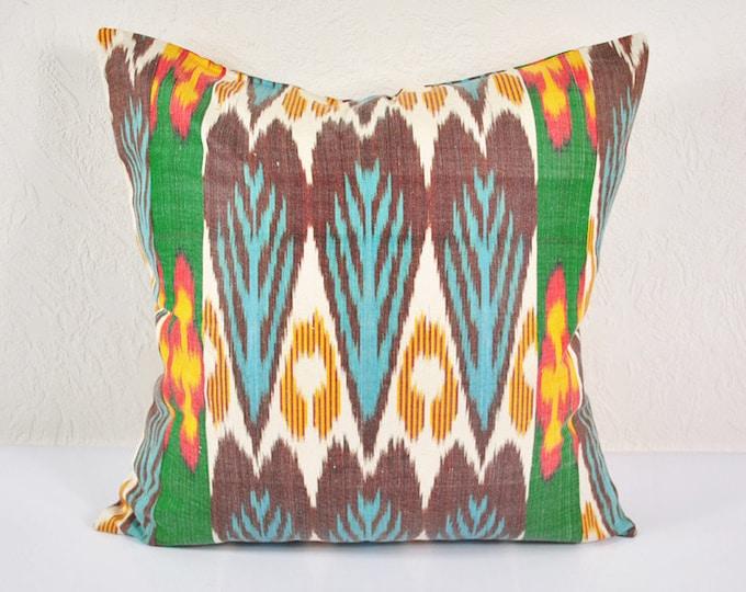 Ikat Pillow, Hand Woven Ikat Pillow Cover  A542-1aa3, Ikat throw pillows, Designer pillows, Decorative pillows, Accent pillows