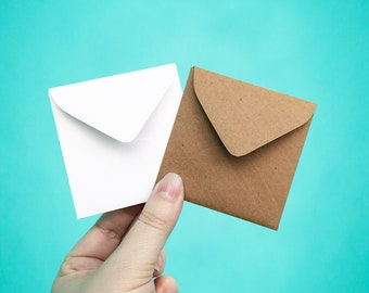 "25 Mini Envelopes, 3 1/8"" Square Envelopes, Little Envelopes, 3.125x3.125"", Small Square Envelopes, Recycled Envelopes, Square Envelopes"