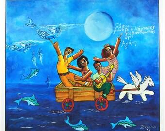 """Oil Canvas Painting - """"The Quartet"""""""