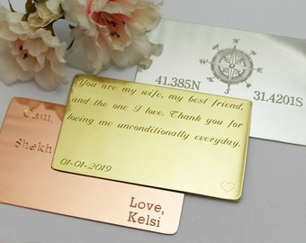 Wallet Insert Gift for wife wedding anniversary card Wedding Gift for her brass anniversary purse insert personalised for her engraved