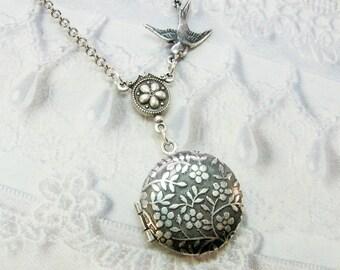 Silver Locket Necklace - LITTLE FLOWER LOCKET - Miniature Locket - Jewelry by BirdzNbeez - Mother's Day Wedding Birthday Daughter Gift