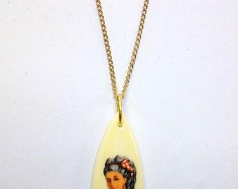 Vintage Woman Teardrop Necklace DEADSTOCK