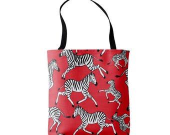 Zebra Print Market Tote, Red, Black & White Animal Print Bag, Safari Pattern